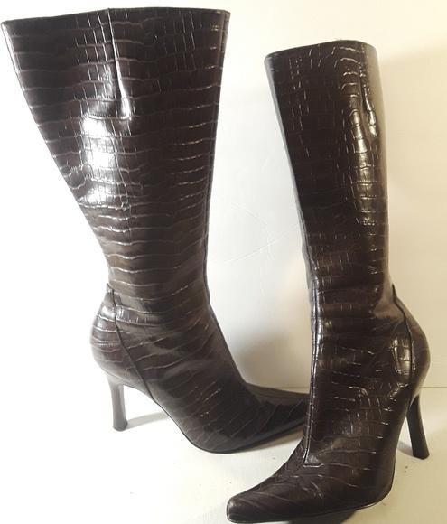 Nine West Shoes - Nine West Faux Snake Print Heeled Brown Boots 7
